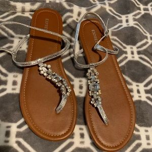 Express Jeweled Sandals, Sz 8